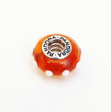 """Genuine Pandora Murano Glass Bead """"Seeing Spots"""" Amber/White 79632"""