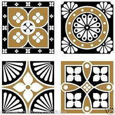 "Arabic Black & White Decorative Backsplash Artistic Ceramic Accent Tiles 6"" New"