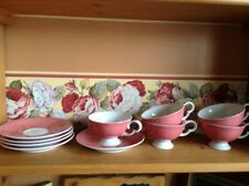 Set of 5 Wako China Japan pink cups and saucers