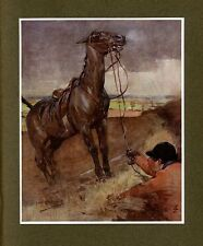HORSE PULLING THE FOX HUNTER INTO THE MUDDY DITCH, ANTIQUE COLOR PRINT, FOX HUNT