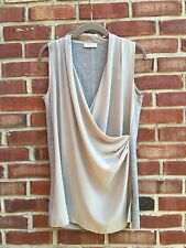 GRAN SASSO Gray Silk Wool Drape Dressy Blouse Top Italy 44 Medium M *YOOX