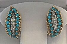 Vintage 1950 Signed 18k Gold Persian Turquoise Diamond Clip Post Earrings