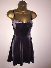 TopShop Stunning Lilac & Black Velvet Skater Style Dress Size UK 6