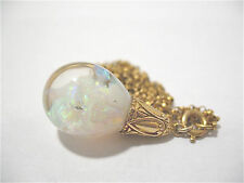 GENUINE ART DECO 14K GOLD FLOATING OPAL PENDANT ON CHAIN DATED 1931 6.9 GRAMS #9