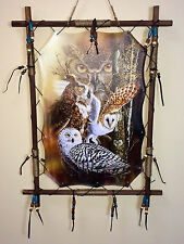 Owl Scene Dream Catcher Wall Hanging Canvas 16 x 22 Beads Feathers Framed