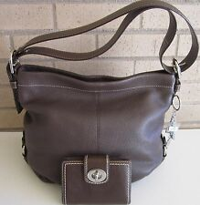 Coach 2pc Mahogany Brown Leather Convertible 15064 Purse & Wallet Set Mint