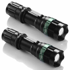 2X 8000 Lumen Zoomable CREE XM-L T6 LED Flashlight Torch Tactical Light Aluminum