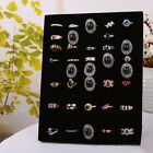 Velvet Black 50-Holes Rings Display Stand Holder Rack Showcase Jewelry Organizer