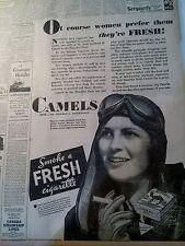 AUG 5, 1931 NEWSPAPER #2835- CAMEL CIGARETTE AD FEATURING AVIATRIX