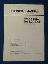 ROTEL RA-820AXB4 INTEGRATED AMP TECHNICAL MANUAL ORIGINAL IN GOOD CONDITION