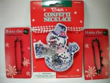 Confetti Necklace Snowman & Red & Green Charm Accessories Safty pin style NEW