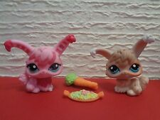 Littlest Pet Shop (2) ANGORA BUNNY RABBITS Pink #631 & Mocha #1471 & Accessories