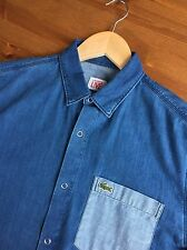 RRP £155 - LACOSTE Contrast Pocket Denim Shirt - Size 39 - Small / Medium
