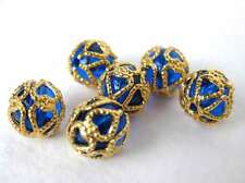 Vintage Beads Sapphire Blue Gold Filigree Bead Cap Lucite Plastic Rounds 9mm