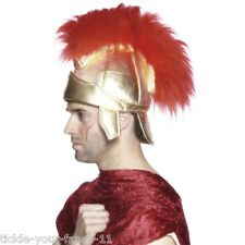 Boys Men's Roman Soldier Helmet Myth History Fancy Dress Warrior Hat Caeser Rome