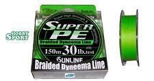 SUNLINE  30 LIBBRE  SUPER PE 150 MT TRECCIATO MULTIFIBRA   col. VERDE