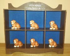 HOLLY HOBBIE COUNTRY PETS COLLECTION FAUX WOOD DISPLAY CASE WITH 6 PUPPIES VTG