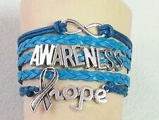 OVARIAN/CERVICAL CANCER,AWARENESS-HOPE,INFINITY,LEATHER ADJUSTABLE BRACELET-#40