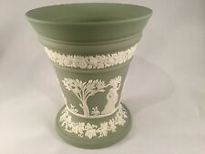 Vintage Green Wedgwood Cream Color On Celadon  Jasperware  Pottery Vase
