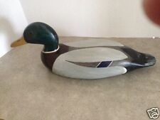 Hand Carved Hollow Wooden Drake Mallard Duck Decoy - Hollow