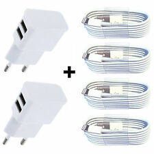 6in1 2x USB fuente de alimentación 5v/2a + 4x 1m cable de carga para iPhone 7 6 5 ipad mini 2 blanco