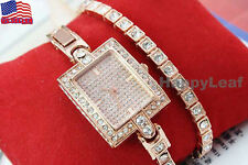 @Cool Design !@18K Rose Gold-plated Austrian Crystal Double Bracelet Dress Watch