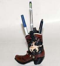 "WESTERN COWBOY Polyresin 4-1/2""x4-1/2"" HORSE RODEO BOOT SHOE PEN PENCIL HOLDER"