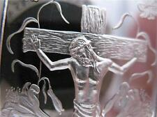 1 OZ..999 SILVER ART BAR  EASTER CRUCIFIXION CROSS OF JESUS ENGRAVABLE + GOLD