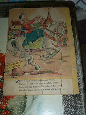 """Very Old Puzzle Paper on Wood / Fibre Board Banbury Cross About 9 x 13 1/2"""""""