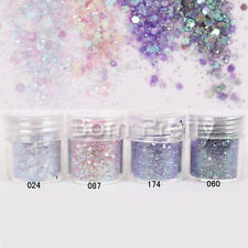4boxes/set 10ml Purple Sequins Glitter Powder Super Matte Powder Nail Art Decor
