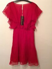 "BNWT "" Pepe Jeans "" Size S (8-10 ) Red EMMY Chiffon Pleat Angel Dress (36-38)"