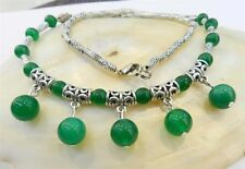 Fashion Women Tibetan Silver Green jade Pendant Necklace Costume Jewellery Gift
