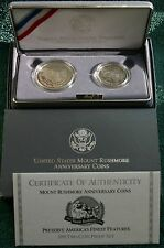 1991 PROOF Mount Rushmore 2 Coin 90% Silver Dollar & Half $ with Box and COA