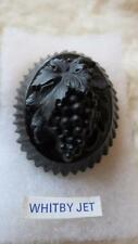 Antique Carved Oval Whitby Jet Glass Grapes Plaque Brooch