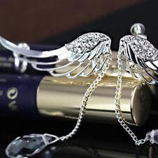 Angel Wing Crystal Drop Ear Clip Vintage Tassel Rhinestone Women Earrings Single