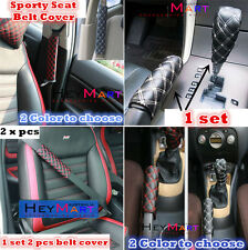 1x Car Gear Shift Knob Cover  1x Hand Brake Cover   2x Seat Belt Cover Car Cover