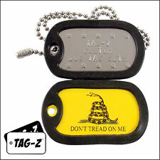 Military Dog Tags - Custom Embossed Tag Set - Gadsden Don't Tread On Me Tag Set