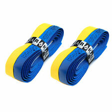 2 x Karakal Super DUO PU Replacement Grips Yellow/Blue Tennis Squash Badminton