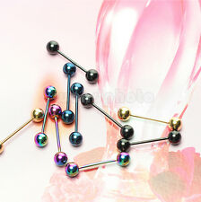 10 MULTICOLOR STAINLESS STEEL TONGUE RINGS NIPPLE BAR BARBELL BALL BODY PIERCING