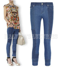 $645 ALEXANDER MCQUEEN JEANS PATCHWORK CROPPED MID-RISE SKINNY PANTS IT 44 US 8