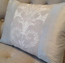 "12x16"" Panelled Laura Ashley cushion cover Josette dove grey & dupion silk"