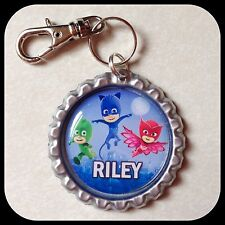 Personalized PJ MASKS Bottle Cap Name Jewelry Zipper Pull Backpack ID Lunch Tag
