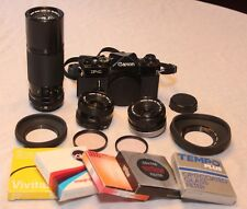 Canon F-1 35mm film camera outfit w/ 3 Canon lenses, 2 shades & 3 filters