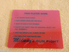 ORIGINAL 1975 MIDWAY 2-PLAYER GUN FIGHT TABLETOP ARCADE GAME INSTRUCTION PLATE