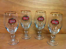 Stella Artois BELGIUM Beer Glass Set 33 cl Chalice ~ Set of Four (4) ~ NEW & F/S
