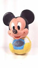 Vintage Disney Mickey Mouse Baby Toy Weeble Roly Poly Chime Ball 1984 w Mirror