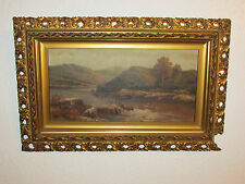 Antique Original Oil Painting On Canvas 'Highland Scene' Signed By Brix - 1913