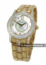 lady Elgin gold tone ice out party watch abalone crystal bracelet Elgin box