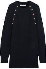 CHLOE Navy Blue Oversized Military Wool Chunky Knit Long Sleeve Sweater Dress XL