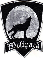 """WOLFPACK"" - HOWLING WOLF FULL MOON PATCH-BIKER-VEST-Iron On Embroidered Patch"